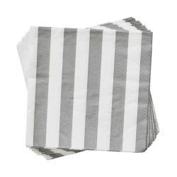 APRÈS Papírové ubrousky proužky 20 ks - šedá