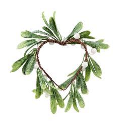 X-MAS Dekorační srdce s bobulkami k zavěšení - bílá