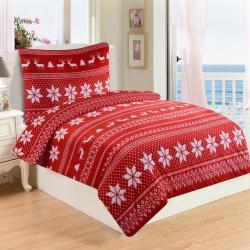 Jahu Povlečení mikroplyš Winter červená, 220 x 200 cm, 2 ks 70 x 90 cm, 220 x 200 cm, 2 ks 70 x 90 cm