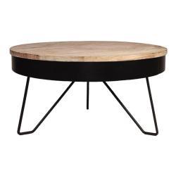 Černý odkládací stolek sdeskou zmangového dřeva LABEL51 Saran, ⌀80cm