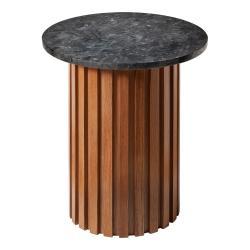 Černý žulový stolek s dubovým podnožím RGE Moon, ⌀ 50 cm