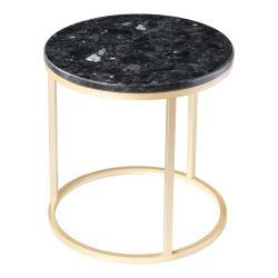 Černý žulový stolek s podnožím ve zlaté barvě RGE Crystal, ⌀ 50 cm