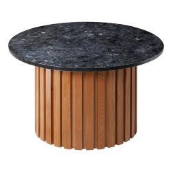 Černý žulový konferenční stolek s podnožím z dubového dřeva RGE Moon, ⌀ 85 cm
