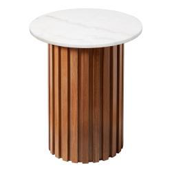 Bílý mramorový stolek s dubovým podnožím RGE Moon, ⌀ 50 cm
