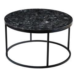Černý žulový konferenční stolek RGE Black Crystal, ⌀ 85 cm