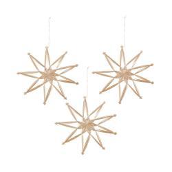 X-MAS Ozdoby slaměné hvězdy 20 cm set 3 ks