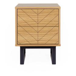 Noční stolek vdubovém dekoru Woodman Mora Herringbone Print
