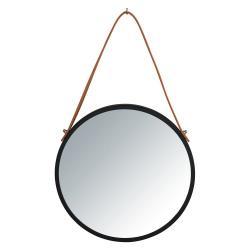 Černé závěsné zrcadlo Wenko Borrone,ø30cm