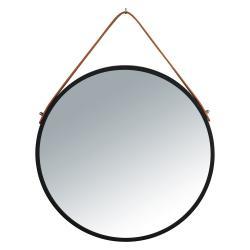 Černé závěsné zrcadlo Wenko Borrone,ø40cm