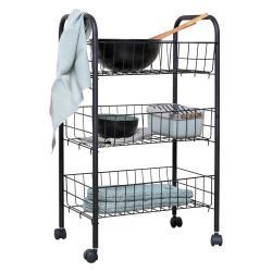 Černý kovový třípatrový pojízdný vozík Wenko Florenz