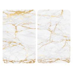 Sada 2 skleněných krytů na sporák v bílo-zlaté barvě Wenko Marble,52x30 cm