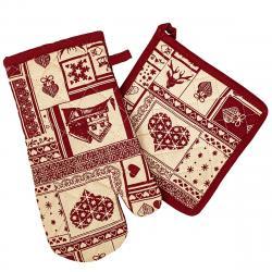 Trade Concept Vánoční kuchyňská sada chňapka a podložka Patchwork červená, 18 x 32 cm, 20 x 20 cm