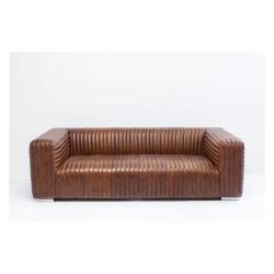 Hnědá kožená pohovka Kare Design Malibu, 226 cm