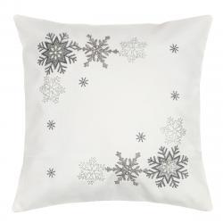 Forbyt Vánoční povlak na polštářek Vločky stříbrná, 40 x 40 cm