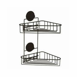 Dvojitá rohová polička do koupelny Compactor Bestlock Black - bez vrtání, nosnost až 12 kg