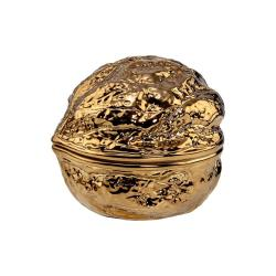 WALNUT Keramická dóza ořech 10 cm - zlatá