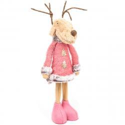 Vánoční textilní dekorace Pink Reindeer Boy, 60 cm