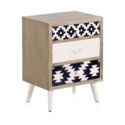 Noční stolek s černobílými detaily a třemi šuplíky Geese Rustico Geometric