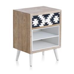 Noční stolek s černobílými detaily a jedním šuplíkem Geese Rustico Geometric