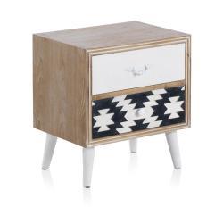 Noční stolek s černobílými detaily a dvěma šuplíky Geese Rustico Geometric