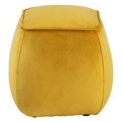 Žlutý sametový puf Actona Mie, 40x40 cm