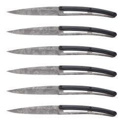 deejo Sada steakových nožů 6dílná PaperStone®, titanium Toile de Jouy matný povrch s barokním tetováním