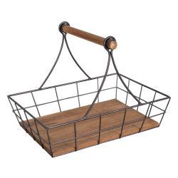 Kovový košík s dřevěnými prvky Antic Line Plateau,36x27,5 cm