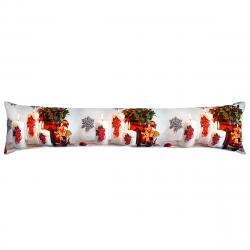 Forbyt Vánoční ozdobný těsnící LED polštář do oken Svíčky červená, 85 x 18 cm