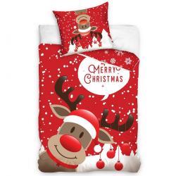 Tiptrade Vánoční Bavlněné povlečení Sob Rudolf, 140 x 200 cm, 70 x 90 cm