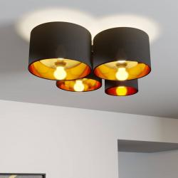 Lindby Lindby Laurenz stropní svítidlo, 4 ž, černo-zlatá