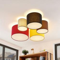 Lindby Lindby Laurenz stropní světlo 5ž 90cm červenožlutá