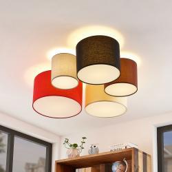 Lindby Lindby Laurenz stropní světlo 5ž 90cm červenobílá