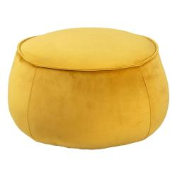 Žlutý sametový puf Actona Mie, ⌀ 60 cm