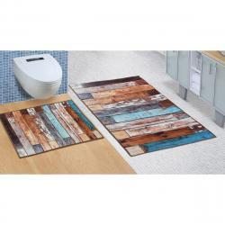 Bellatex Koupelnová sada bez výkroje Dřevěná podlaha, 60 x 100 cm, 60 x 50 cm