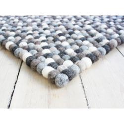 Šedo-bílý kuličkový vlněný koberec Wooldot Ball Rugs, 120 x 180 cm