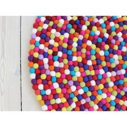 Tmavě červený kuličkový vlněný koberec Wooldot Ball Rugs, ⌀ 200 cm