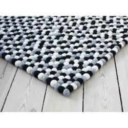 Černo-bílý kuličkový vlněný koberec Wooldot Ball Rugs, 100 x 150 cm