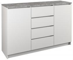 Shoptop Komoda 2D4S 120 bílá/mramor