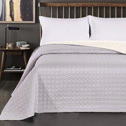 Oboustranný přehoz na postel DecoKing Salice bílý/stříbrný