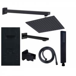 MEXEN Sprchový-vanový set podomítkový CUBE 7v1 černý