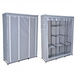 TZB Textilní šatní skříň Soňa s 8 policemi - šedá