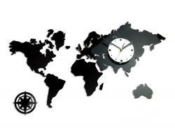 Mazur 3D nalepovací hodiny Continents černo-bílé