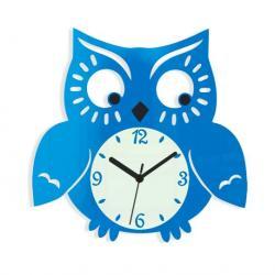 Mazur Nástěnné hodiny Owl modré