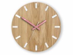 Mazur Nástěnné hodiny Simple Oak hnědo-růžové