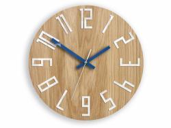 Mazur Nástěnné hodiny Slim hnědo-modré