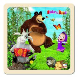 Bino Puzzle Máša a medvěd s kozou, 15 x 15 cm
