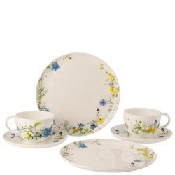 Dárková sada porcelánu Rosenthal Brillance Fleurs des Alpes, kombi šálky, talíře, 6 ks