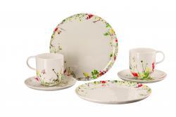 Dárková sada porcelánu Rosenthal Brillance Fleurs Sauvages, hrnky, talíře, 6 ks
