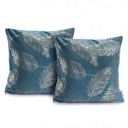 Povlak na polštář DecoKing Golden Leaves 2 kusy mořsky modrý