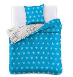 Povlečení z bavlny DecoKing Stars modro-šedé